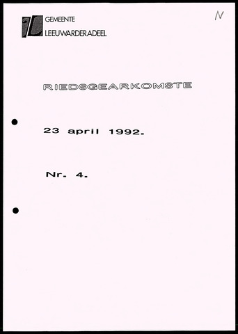 Notulen van de gemeenteraad van Leeuwarderadeel 1992-04-23