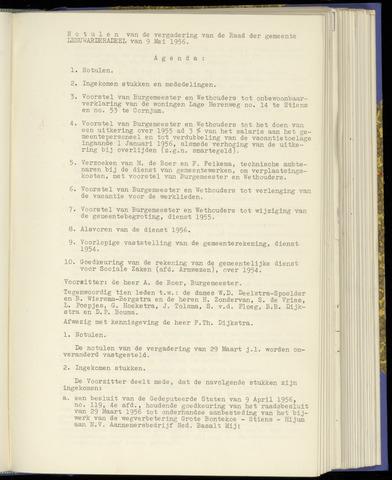 Notulen van de gemeenteraad van Leeuwarderadeel 1956-05-09