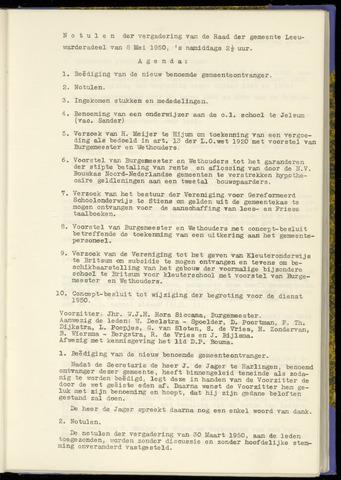 Notulen van de gemeenteraad van Leeuwarderadeel 1950-05-08