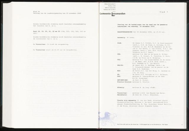 Raadsverslagen van de gemeente Leeuwarden, 1865-2007 (Notulen) 2000-12-18