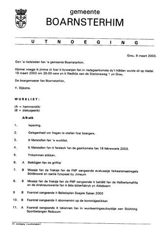 Boarnsterhim vergaderstukken gemeenteraad  2003-03-18