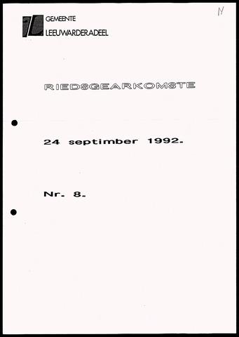 Notulen van de gemeenteraad van Leeuwarderadeel 1992-09-24
