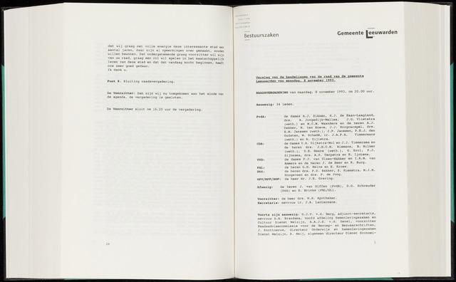 Raadsverslagen van de gemeente Leeuwarden, 1865-2007 (Notulen) 1993-11-08