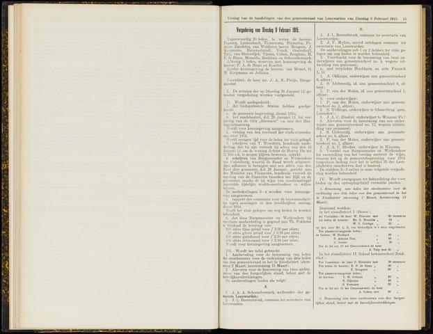 Raadsverslagen van de gemeente Leeuwarden, 1865-2007 (Notulen) 1915-02-09