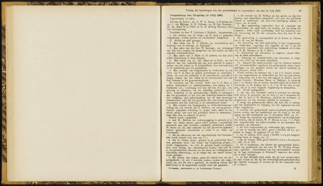 Raadsverslagen van de gemeente Leeuwarden, 1865-2007 (Notulen) 1885-07-14