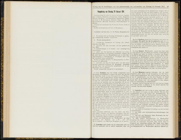Raadsverslagen van de gemeente Leeuwarden, 1865-2007 (Notulen) 1914-02-24