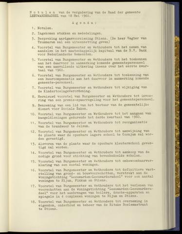Notulen van de gemeenteraad van Leeuwarderadeel 1960-05-18