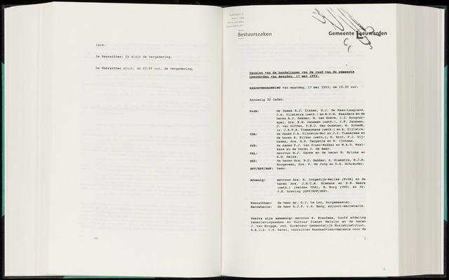 Raadsverslagen van de gemeente Leeuwarden, 1865-2007 (Notulen) 1993-05-17