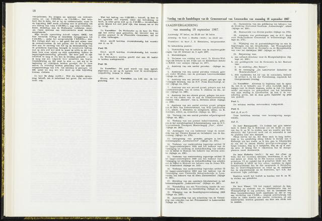 Raadsverslagen van de gemeente Leeuwarden, 1865-2007 (Notulen) 1967-09-18