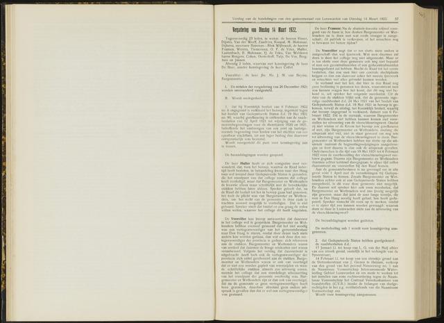 Raadsverslagen van de gemeente Leeuwarden, 1865-2007 (Notulen) 1922-03-14