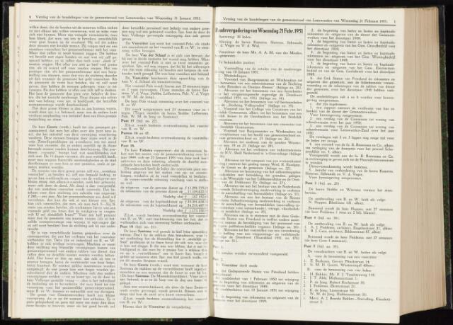 Raadsverslagen van de gemeente Leeuwarden, 1865-2007 (Notulen) 1951-02-21