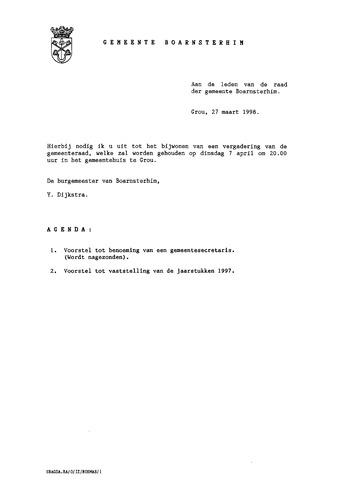 Boarnsterhim vergaderstukken gemeenteraad  1998-04-07