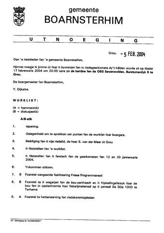 Boarnsterhim vergaderstukken gemeenteraad  2004-02-17