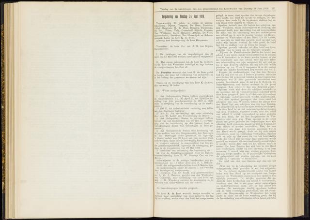 Raadsverslagen van de gemeente Leeuwarden, 1865-2007 (Notulen) 1919-06-24