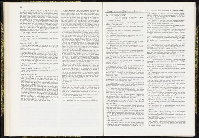 Raadsverslagen van de gemeente Leeuwarden, 1865-2007 (Notulen) 1966-08-10