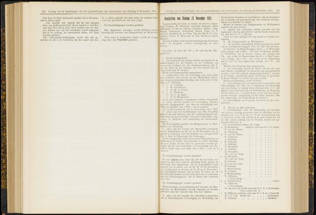 Raadsverslagen van de gemeente Leeuwarden, 1865-2007 (Notulen) 1921-11-22