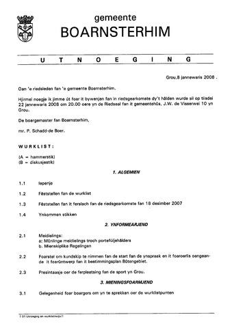 Boarnsterhim vergaderstukken gemeenteraad  2008-01-22