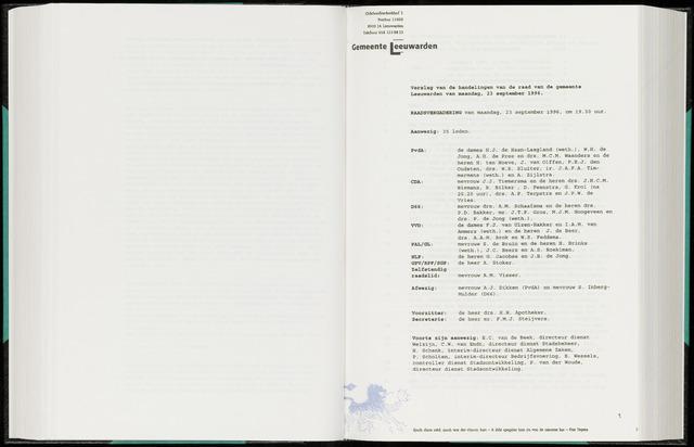 Raadsverslagen van de gemeente Leeuwarden, 1865-2007 (Notulen) 1996-09-23