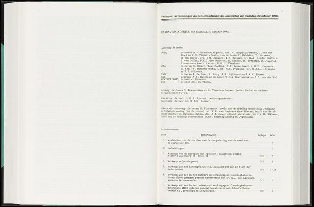 Raadsverslagen van de gemeente Leeuwarden, 1865-2007 (Notulen) 1986-10-20