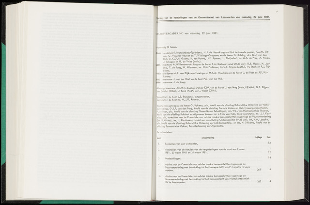 Raadsverslagen van de gemeente Leeuwarden, 1865-2007 (Notulen) 1981-06-22
