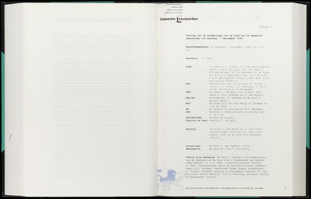 Raadsverslagen van de gemeente Leeuwarden, 1865-2007 (Notulen) 1998-09-07