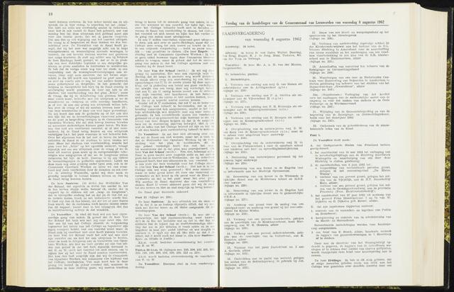 Raadsverslagen van de gemeente Leeuwarden, 1865-2007 (Notulen) 1962-08-08