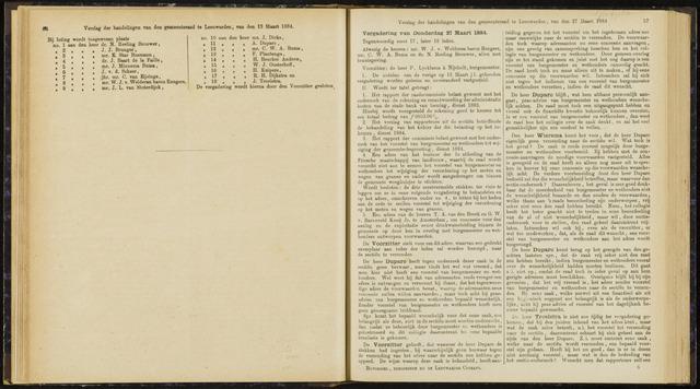 Raadsverslagen van de gemeente Leeuwarden, 1865-2007 (Notulen) 1884-03-27