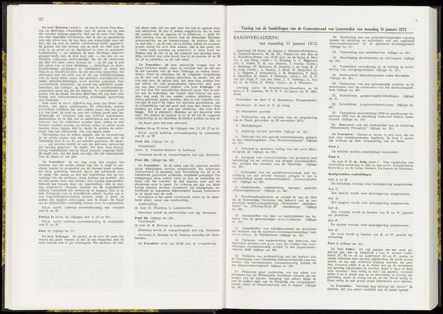 Raadsverslagen van de gemeente Leeuwarden, 1865-2007 (Notulen) 1972-01-31