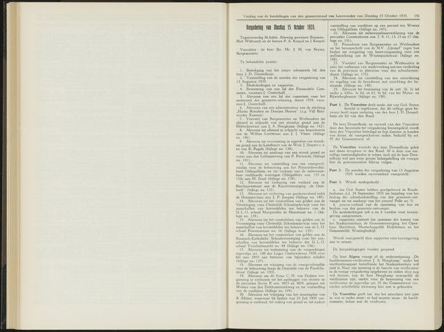 Raadsverslagen van de gemeente Leeuwarden, 1865-2007 (Notulen) 1935-10-15