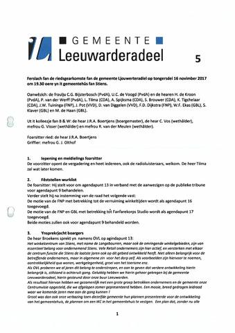 Notulen van de gemeenteraad van Leeuwarderadeel 2017-12-07