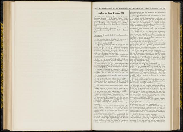 Raadsverslagen van de gemeente Leeuwarden, 1865-2007 (Notulen) 1916-09-05