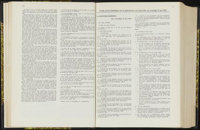 Raadsverslagen van de gemeente Leeuwarden, 1865-2007 (Notulen) 1956-05-23