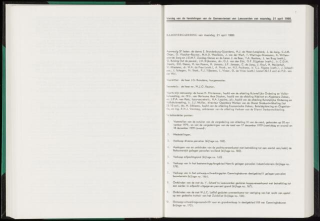 Raadsverslagen van de gemeente Leeuwarden, 1865-2007 (Notulen) 1980-04-21