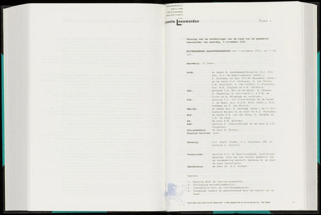 Raadsverslagen van de gemeente Leeuwarden, 1865-2007 (Notulen) 2001-11-05