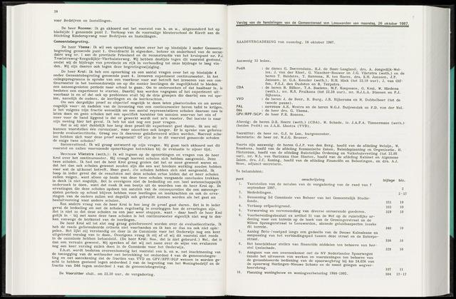 Raadsverslagen van de gemeente Leeuwarden, 1865-2007 (Notulen) 1987-10-26