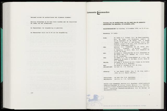 Raadsverslagen van de gemeente Leeuwarden, 1865-2007 (Notulen) 1994-11-14
