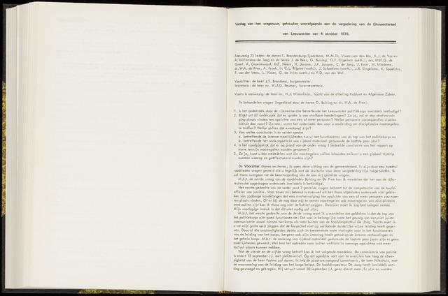 Raadsverslagen van de gemeente Leeuwarden, 1865-2007 (Notulen) 1976-10-04
