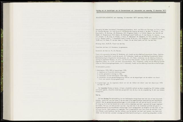 Raadsverslagen van de gemeente Leeuwarden, 1865-2007 (Notulen) 1977-12-12