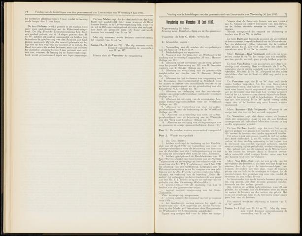 Raadsverslagen van de gemeente Leeuwarden, 1865-2007 (Notulen) 1937-06-30