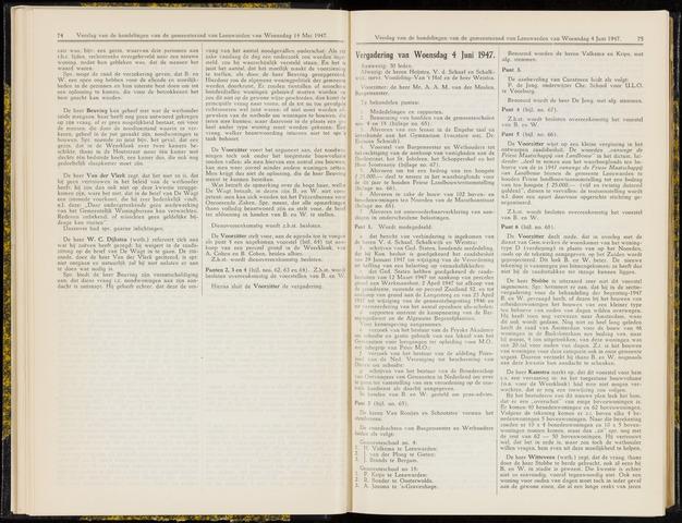 Raadsverslagen van de gemeente Leeuwarden, 1865-2007 (Notulen) 1947-06-04