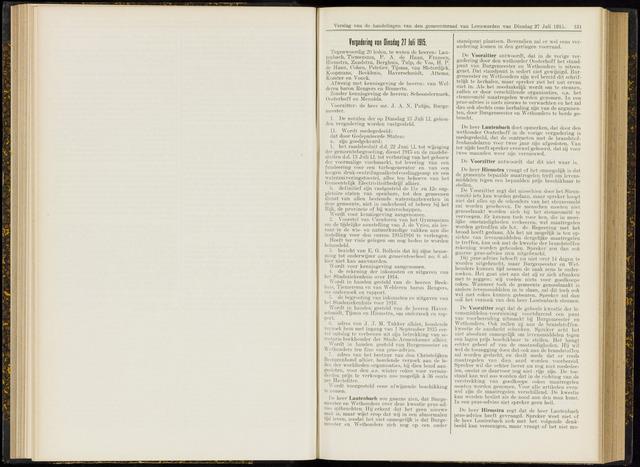 Raadsverslagen van de gemeente Leeuwarden, 1865-2007 (Notulen) 1915-07-27