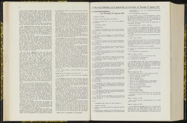 Raadsverslagen van de gemeente Leeuwarden, 1865-2007 (Notulen) 1954-08-25
