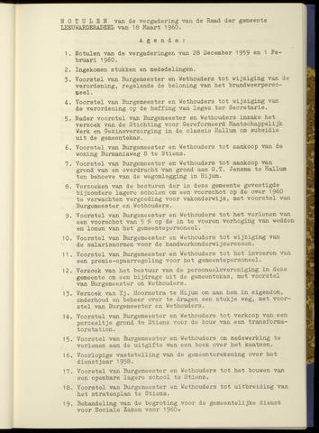 Notulen van de gemeenteraad van Leeuwarderadeel 1960-03-18