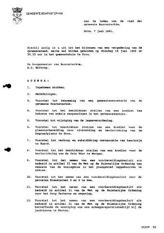Boarnsterhim vergaderstukken gemeenteraad  1991-06-18