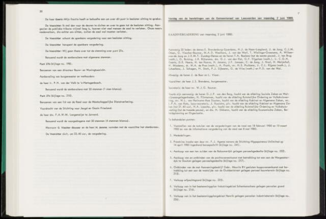 Raadsverslagen van de gemeente Leeuwarden, 1865-2007 (Notulen) 1980-06-02