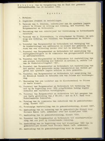 Notulen van de gemeenteraad van Leeuwarderadeel 1959-12-28
