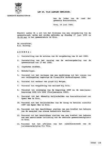 Boarnsterhim vergaderstukken gemeenteraad  1989-06-27