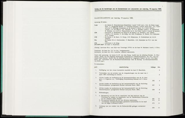 Raadsverslagen van de gemeente Leeuwarden, 1865-2007 (Notulen) 1985-08-19