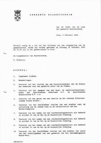 Boarnsterhim vergaderstukken gemeenteraad  1993-02-16