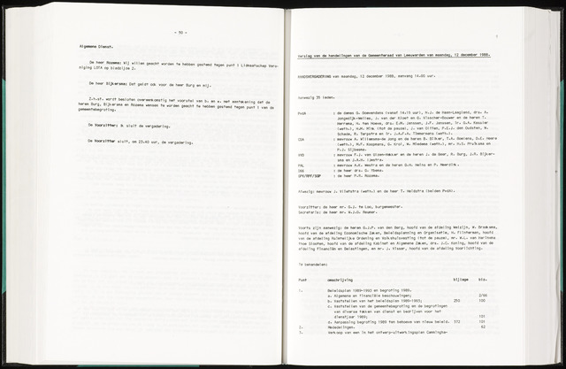 Raadsverslagen van de gemeente Leeuwarden, 1865-2007 (Notulen) 1988-12-12